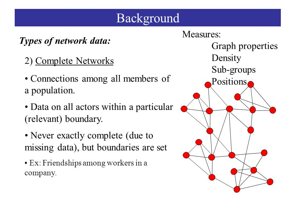 2) Complete Networks Connections among all members of a population.