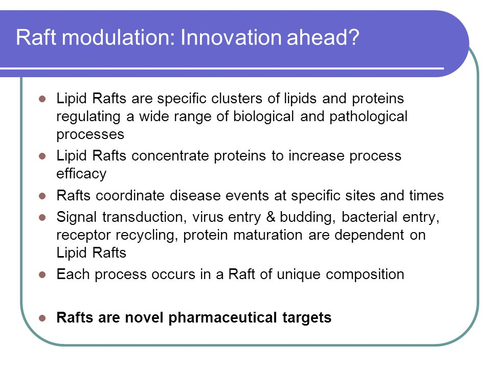 Raft modulation: Innovation ahead? Lipid Rafts are specific clusters of lipids and proteins regulating a wide range of biological and pathological pro