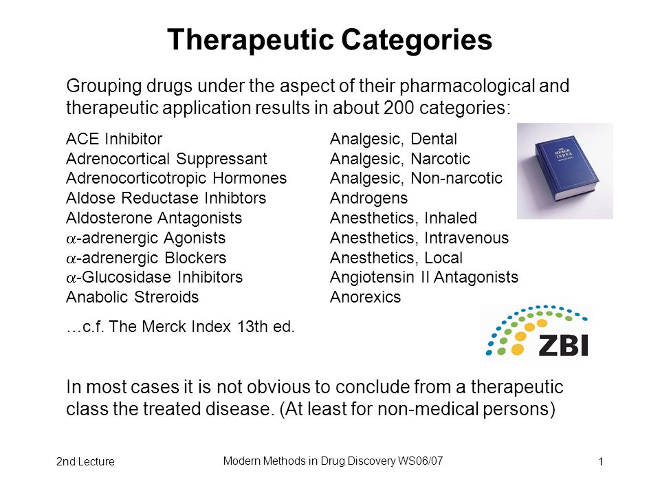 2nd Lecture Modern Methods in Drug Discovery WS06/07 1 Therapeutic Categories Grouping drugs under the aspect of their pharmacological and therapeutic application results in about 200 categories: ACE Inhibitor Analgesic, Dental Adrenocortical Suppressant Analgesic, Narcotic Adrenocorticotropic Hormones Analgesic, Non-narcotic Aldose Reductase Inhibtors Androgens Aldosterone Antagonists Anesthetics, Inhaled  -adrenergic Agonists Anesthetics, Intravenous  -adrenergic Blockers Anesthetics, Local  -Glucosidase Inhibitors Angiotensin II Antagonists Anabolic Streroids Anorexics …c.f.