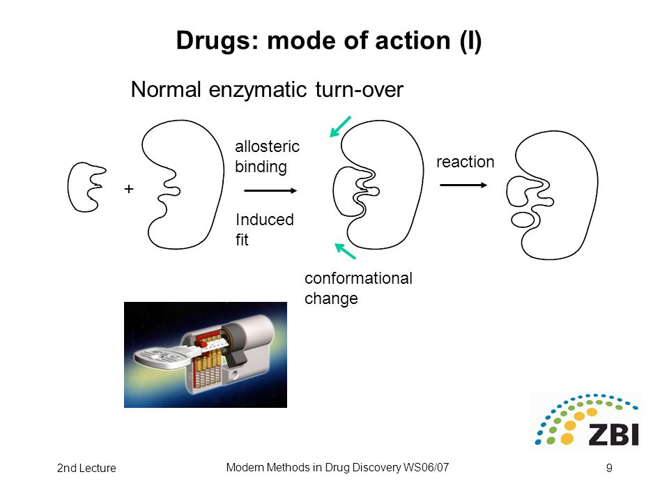 2nd Lecture Modern Methods in Drug Discovery WS06/07 9 Drugs: mode of action (I) allosteric binding + conformational change Induced fit Normal enzymatic turn-over reaction