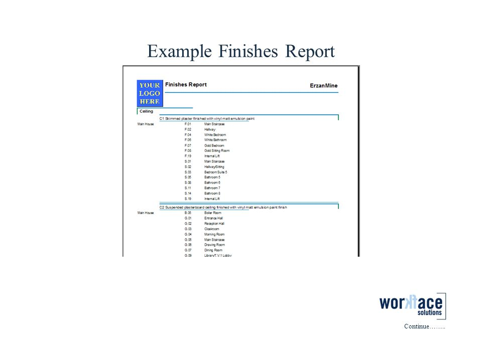 Example Finishes Report Continue……..