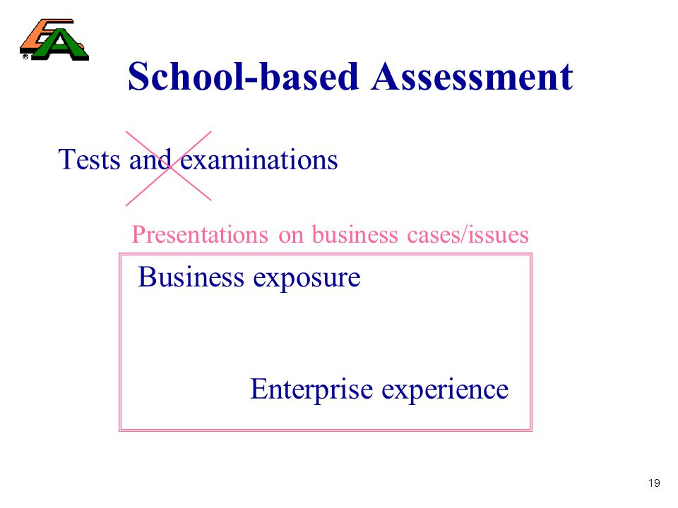 19 School-based Assessment Tests and examinations Business exposure Enterprise experience Presentations on business cases/issues