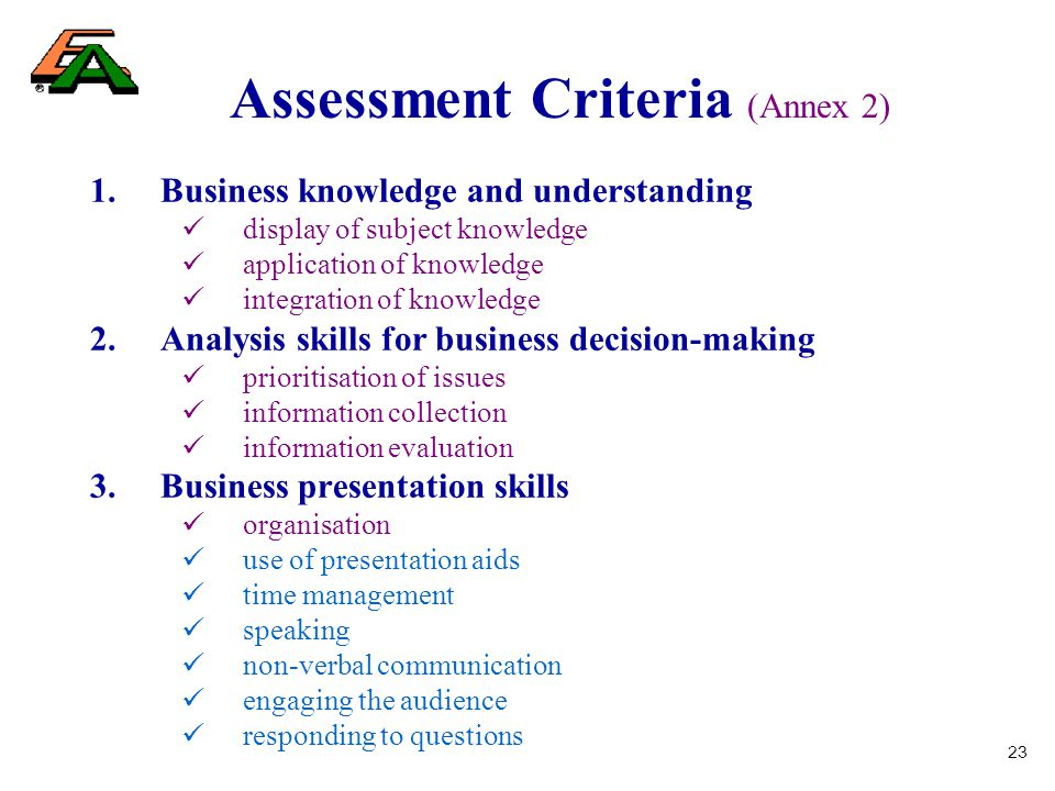 23 Assessment Criteria (Annex 2) 1.Business knowledge and understanding display of subject knowledge application of knowledge integration of knowledge 2.Analysis skills for business decision-making prioritisation of issues information collection information evaluation 3.Business presentation skills organisation use of presentation aids time management speaking non-verbal communication engaging the audience responding to questions