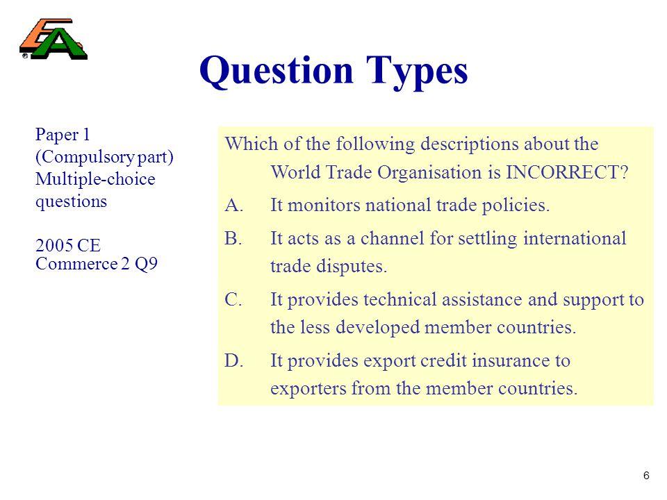7 Question Types Paper 1 (Compulsory part) Multiple-choice questions Web-based Teacher Development Course on Personal Finance for TE Teachers Unit 1 – Assessment