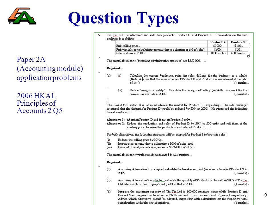 9 Question Types Paper 2A (Accounting module) application problems 2006 HKAL Principles of Accounts 2 Q5