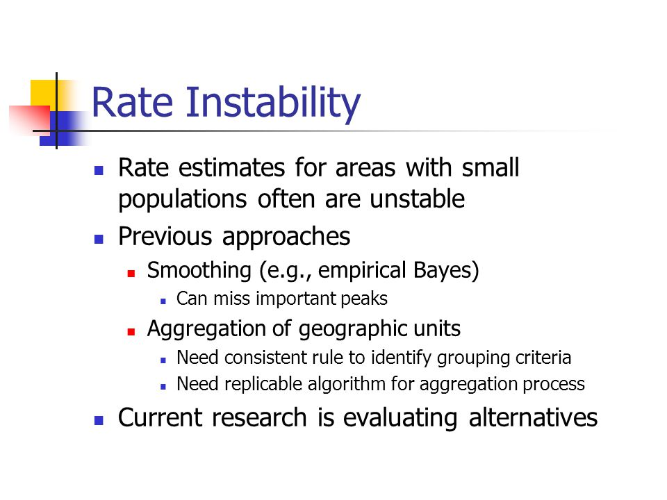 Rate Instability Rate estimates for areas with small populations often are unstable Previous approaches Smoothing (e.g., empirical Bayes) Can miss important peaks Aggregation of geographic units Need consistent rule to identify grouping criteria Need replicable algorithm for aggregation process Current research is evaluating alternatives