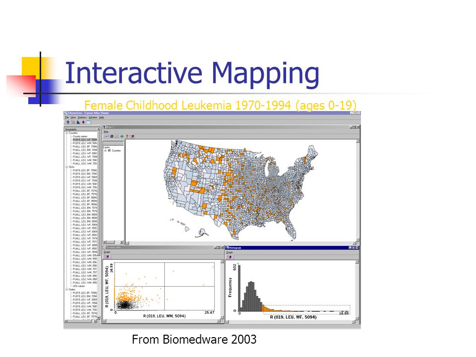 Interactive Mapping Female Childhood Leukemia 1970-1994 (ages 0-19) From Biomedware 2003