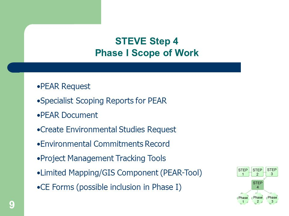 9 PEAR Request Specialist Scoping Reports for PEAR PEAR Document Create Environmental Studies Request Environmental Commitments Record Project Management Tracking Tools Limited Mapping/GIS Component (PEAR-Tool) CE Forms (possible inclusion in Phase I) STEVE Step 4 Phase I Scope of Work