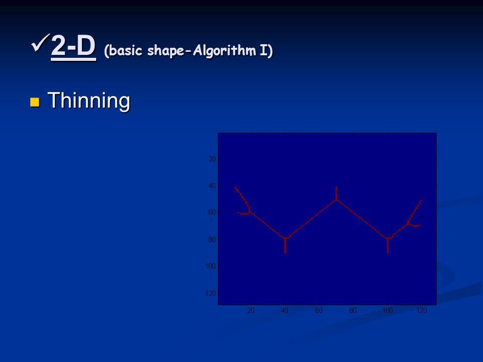 2-D (basic shape-Algorithm I) 2-D (basic shape-Algorithm I) Thinning Thinning