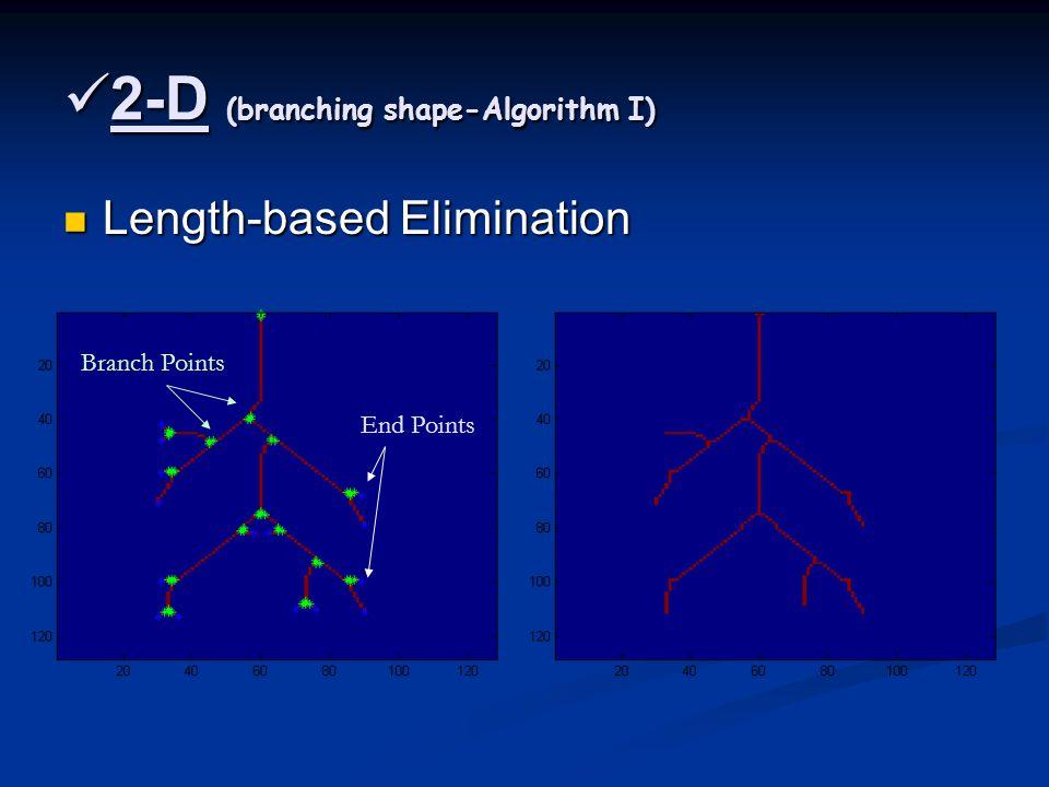 2-D (branching shape-Algorithm I) 2-D (branching shape-Algorithm I) Length-based Elimination Length-based Elimination End Points Branch Points