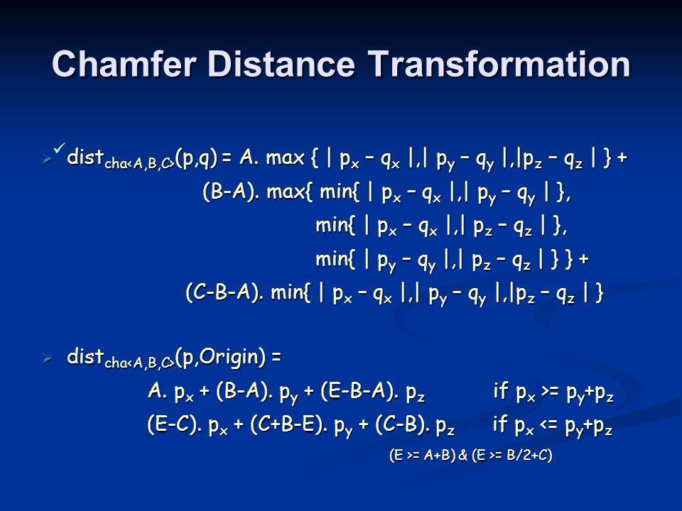 Chamfer Distance Transformation  dist cha (p,q) = A.