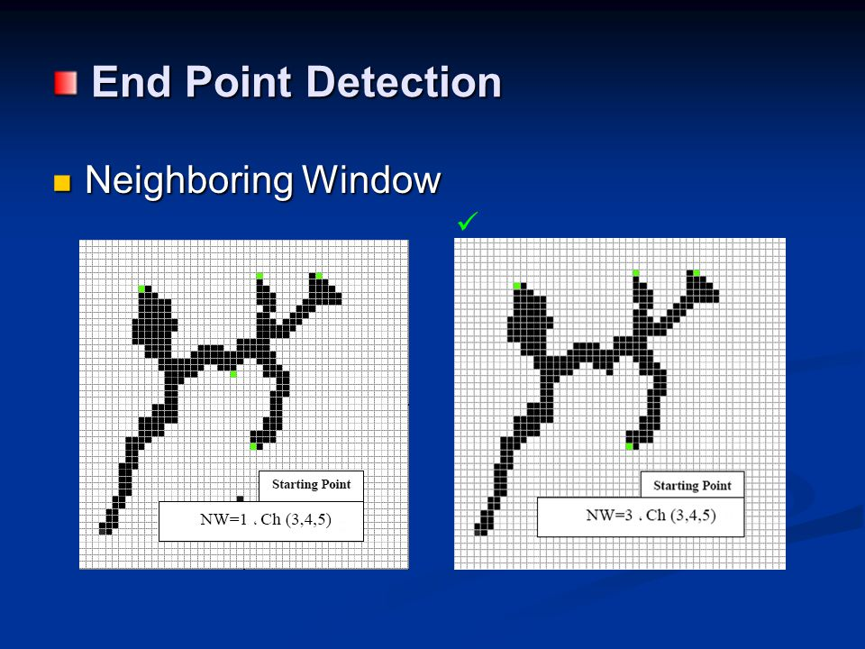End Point Detection End Point Detection Neighboring Window Neighboring Window