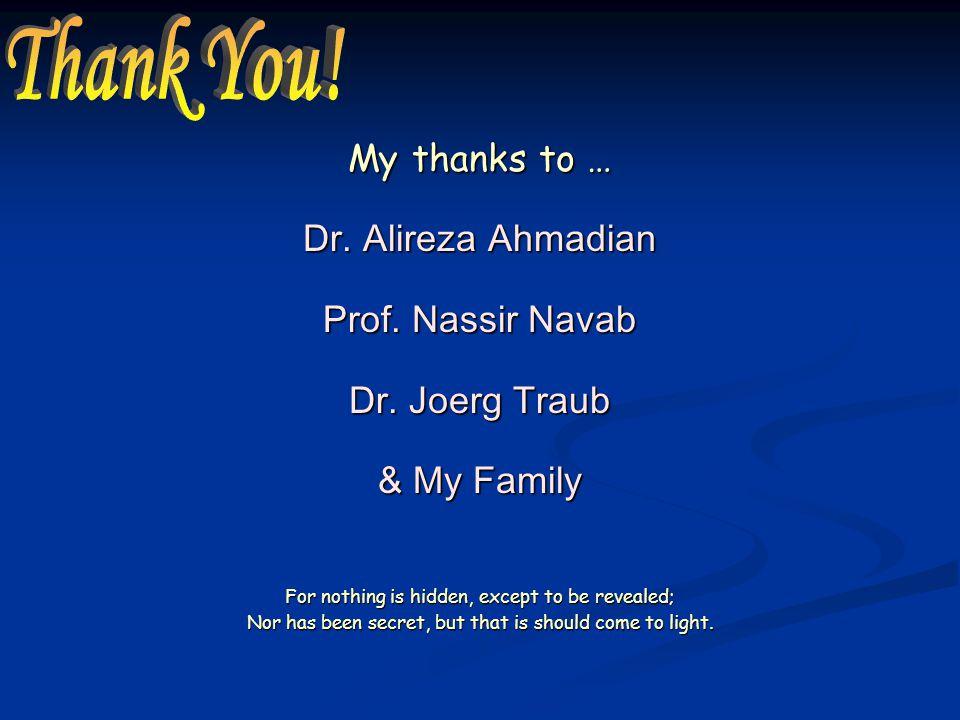 My thanks to … Dr. Alireza Ahmadian Prof. Nassir Navab Dr.