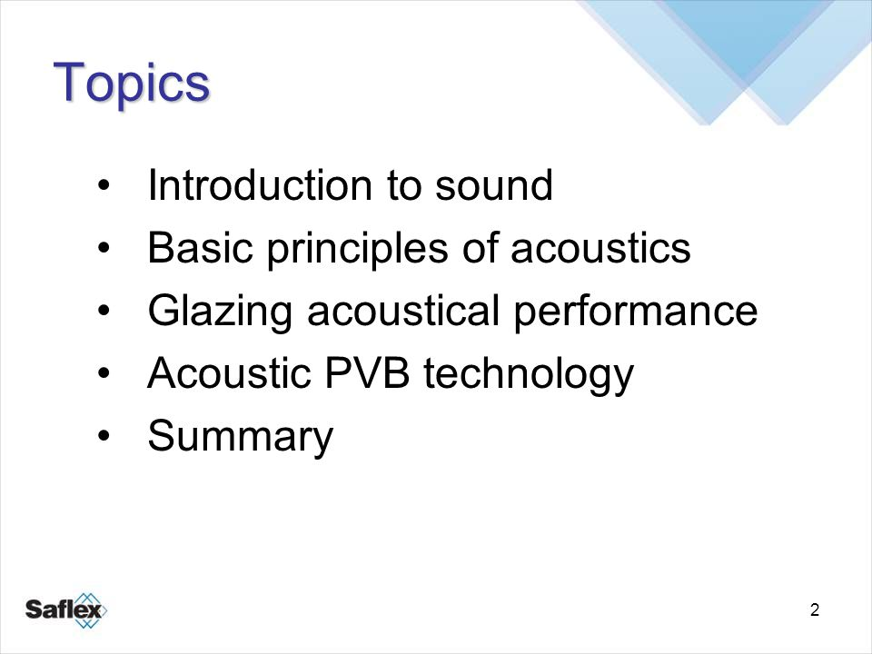 2 Topics Introduction to sound Basic principles of acoustics Glazing acoustical performance Acoustic PVB technology Summary