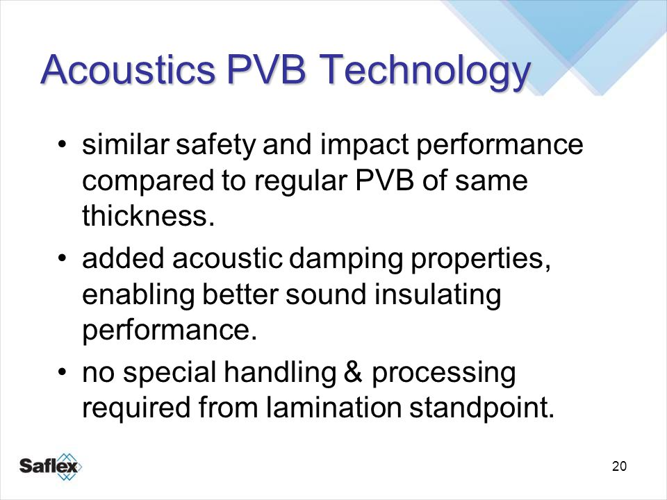 20 similar safety and impact performance compared to regular PVB of same thickness. added acoustic damping properties, enabling better sound insulatin