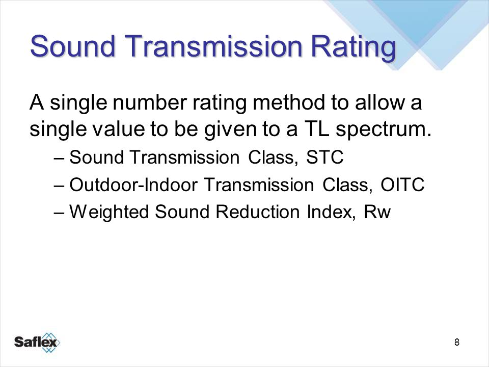 8 Sound Transmission Rating A single number rating method to allow a single value to be given to a TL spectrum. –Sound Transmission Class, STC –Outdoo