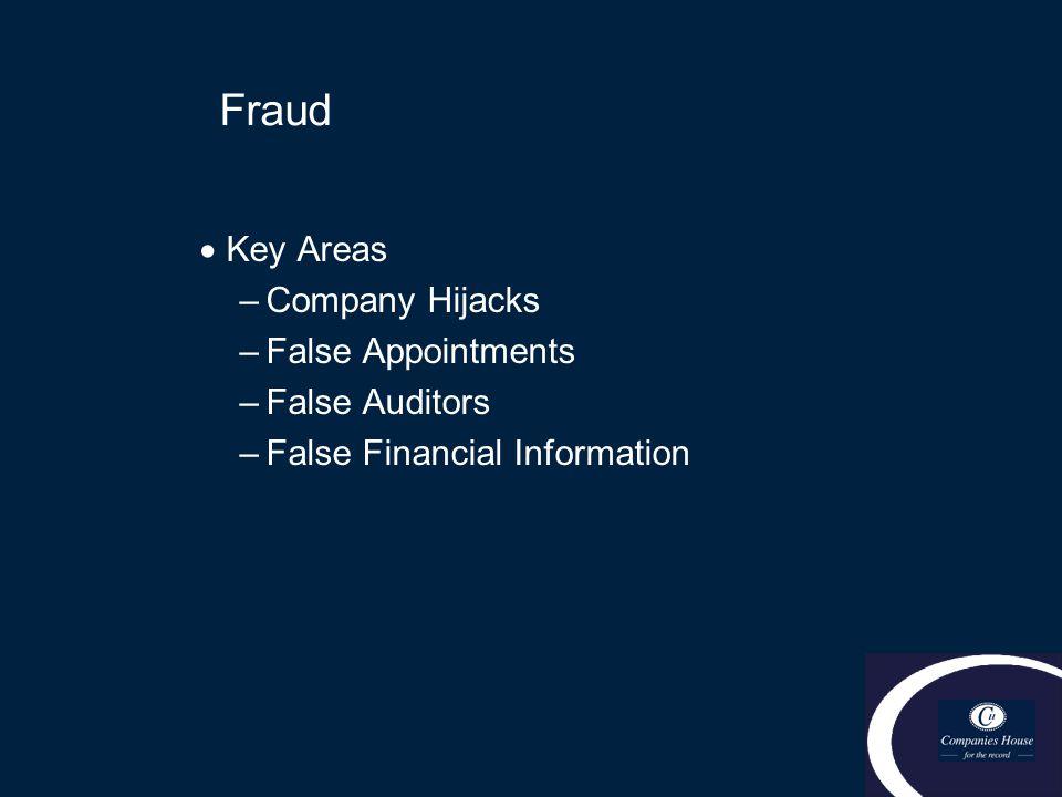 Fraud  Key Areas –Company Hijacks –False Appointments –False Auditors –False Financial Information
