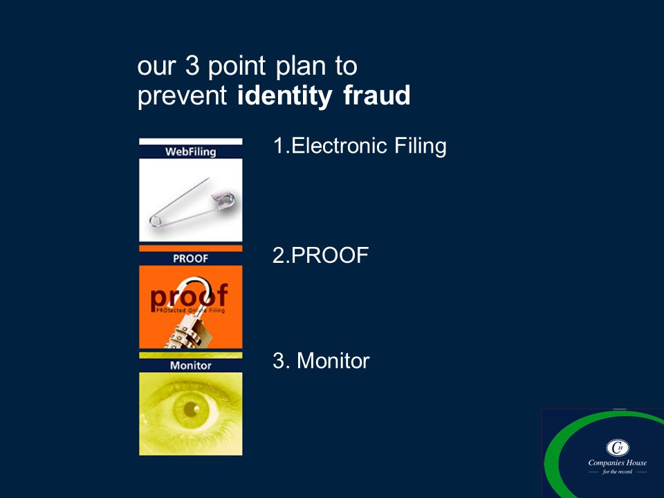 our 3 point plan to prevent identity fraud 1.Electronic Filing 3. Monitor 2.PROOF