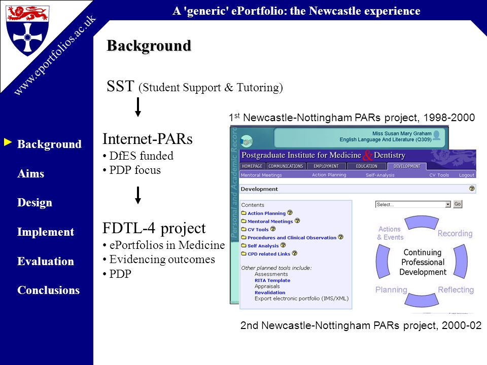 A generic ePortfolio: the Newcastle experience Background Aims Design Implement Evaluation Conclusions www.eportfolios.ac.uk A systematic map and synthesis review of the effectiveness of personal development planning for improving student learning.