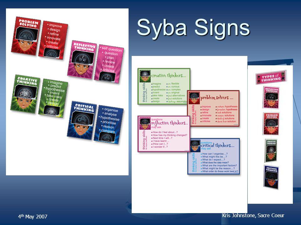 Kris Johnstone, Sacre Coeur Syba Signs