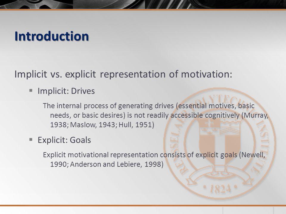 Introduction Implicit vs. explicit representation of motivation:  Implicit: Drives The internal process of generating drives (essential motives, basi