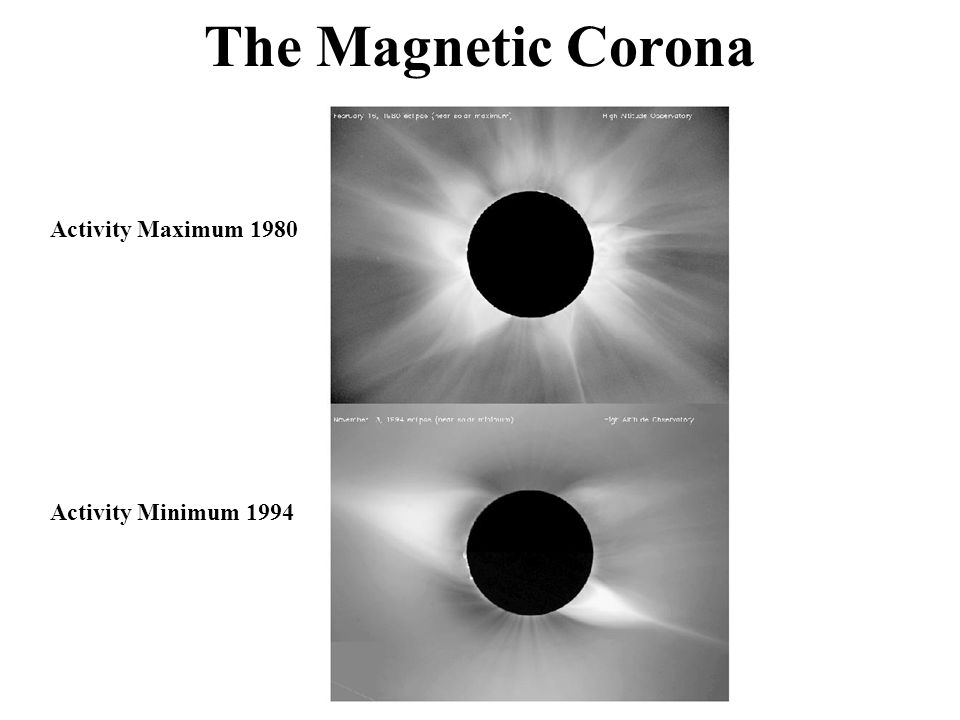 The Magnetic Corona Activity Maximum 1980 Activity Minimum 1994