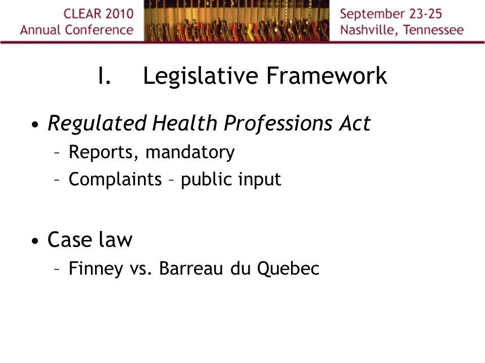I.Legislative Framework Regulated Health Professions Act –Reports, mandatory –Complaints – public input Case law –Finney vs.