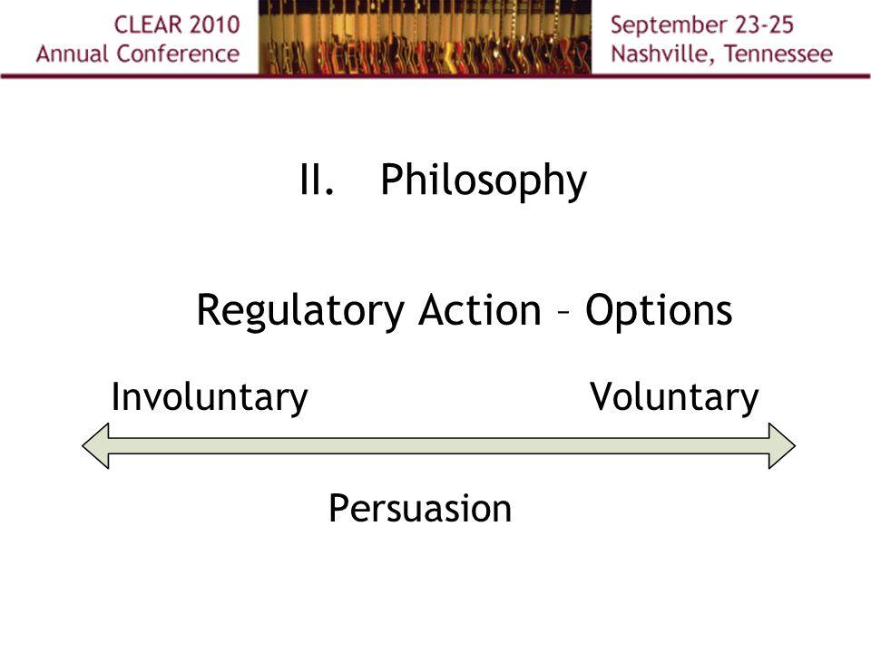 II.Philosophy Regulatory Action – Options InvoluntaryVoluntary Persuasion