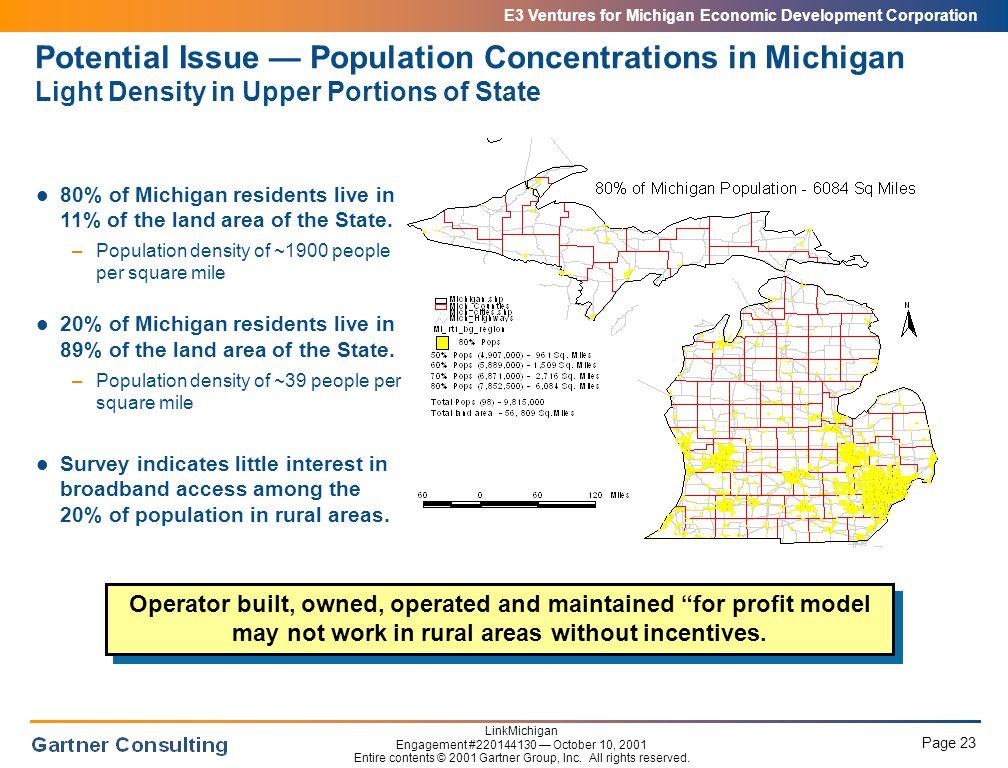 E3 Ventures for Michigan Economic Development Corporation Page 23 LinkMichigan Engagement #220144130 — October 10, 2001 Entire contents © 2001 Gartner Group, Inc.