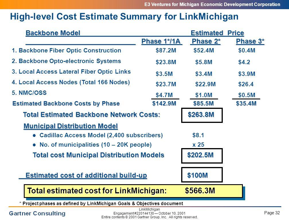 E3 Ventures for Michigan Economic Development Corporation Page 32 LinkMichigan Engagement #220144130 — October 10, 2001 Entire contents © 2001 Gartner Group, Inc.