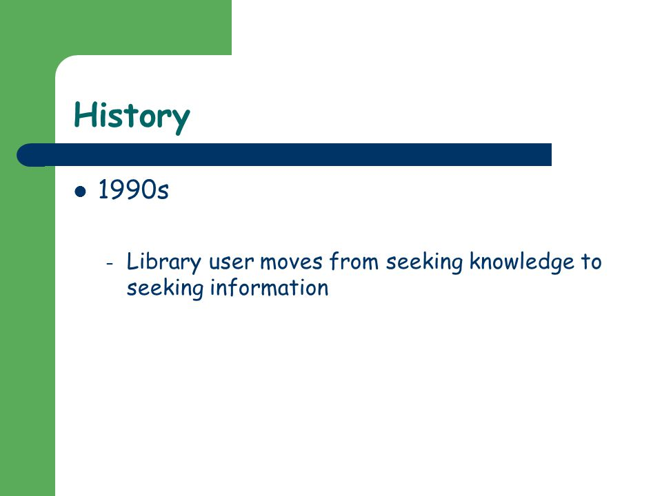 History 1990s – Library user moves from seeking knowledge to seeking information