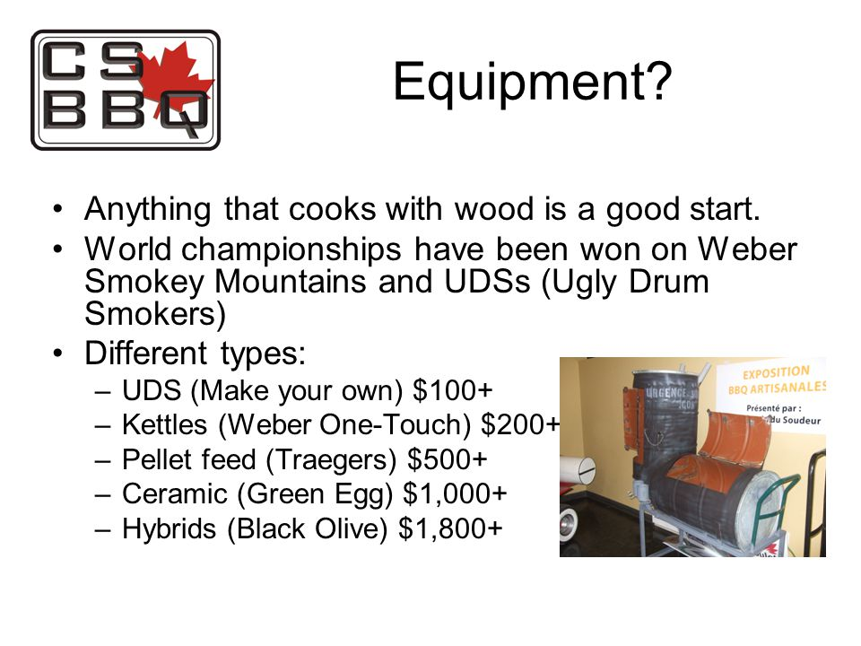 Equipment. Anything that cooks with wood is a good start.