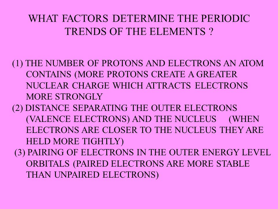 WHAT FACTORS DETERMINE THE PERIODIC TRENDS OF THE ELEMENTS ? (1) THE NUMBER OF PROTONS AND ELECTRONS AN ATOM CONTAINS (MORE PROTONS CREATE A GREATER N