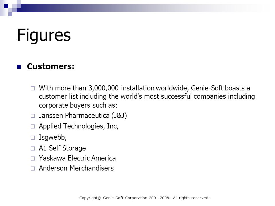 Copyright© Genie-Soft Corporation 2001-2008. All rights reserved. Figures Customers:  With more than 3,000,000 installation worldwide, Genie-Soft boa