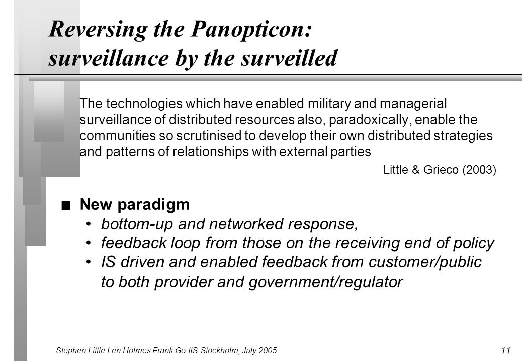 Stephen Little Len Holmes Frank Go IIS Stockholm, July 2005 11 Reversing the Panopticon: surveillance by the surveilled The technologies which have enabled military and managerial surveillance of distributed resources also, paradoxically, enable the communities so scrutinised to develop their own distributed strategies and patterns of relationships with external parties Little & Grieco (2003) n New paradigm bottom-up and networked response, feedback loop from those on the receiving end of policy IS driven and enabled feedback from customer/public to both provider and government/regulator