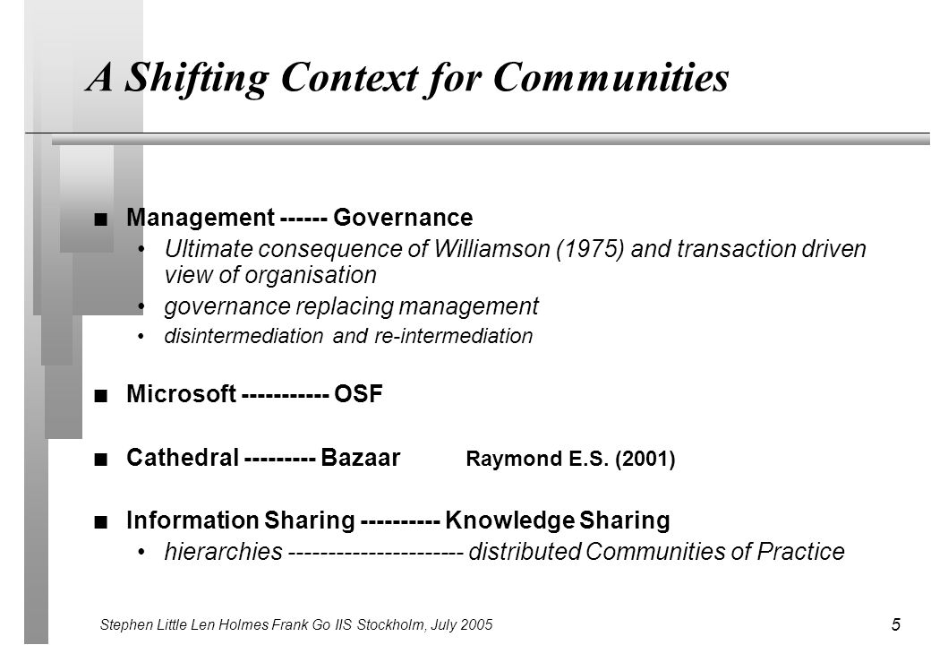 Stephen Little Len Holmes Frank Go IIS Stockholm, July 2005 5 A Shifting Context for Communities n Management ------ Governance Ultimate consequence of Williamson (1975) and transaction driven view of organisation governance replacing management disintermediation and re-intermediation n Microsoft ----------- OSF n Cathedral --------- Bazaar Raymond E.S.