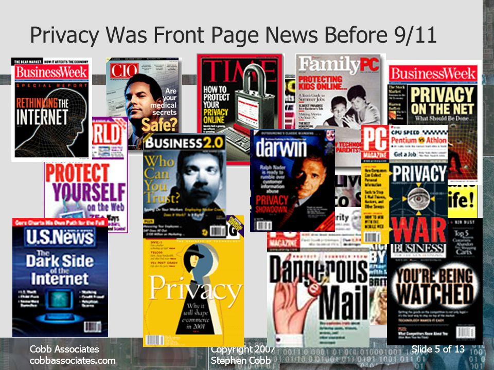 Cobb Associates cobbassociates.com Copyright 2007 Stephen Cobb Slide 5 of 13 Privacy Was Front Page News Before 9/11
