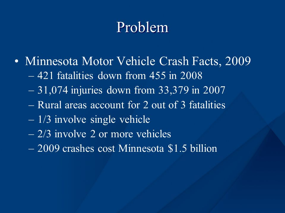 Problem Minnesota Motor Vehicle Crash Facts, 2009 –421 fatalities down from 455 in 2008 –31,074 injuries down from 33,379 in 2007 –Rural areas account for 2 out of 3 fatalities –1/3 involve single vehicle –2/3 involve 2 or more vehicles –2009 crashes cost Minnesota $1.5 billion
