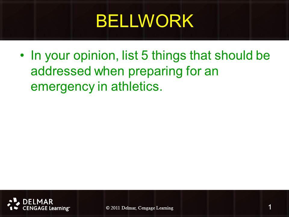 © 2010 Delmar, Cengage Learning 2 © 2011 Delmar, Cengage Learning Chapter 5 Emergency Preparedness: Injury Game Plan