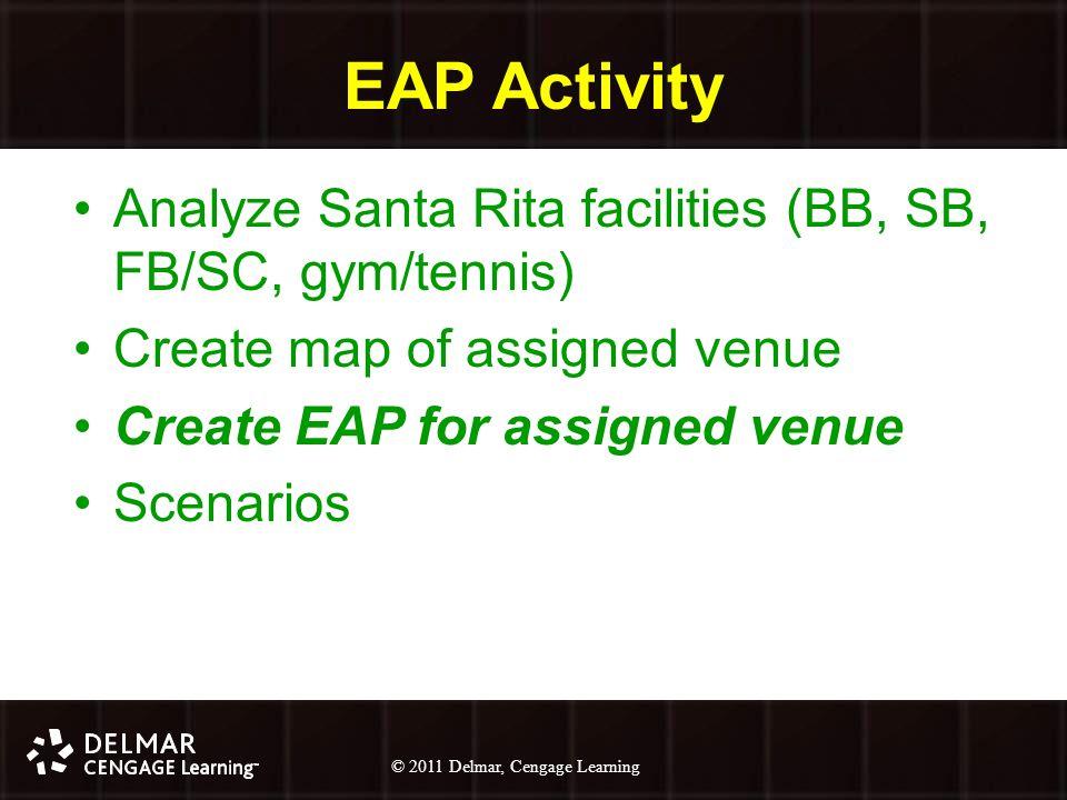© 2010 Delmar, Cengage Learning 21 © 2011 Delmar, Cengage Learning EAP Activity Analyze Santa Rita facilities (BB, SB, FB/SC, gym/tennis) Create map of assigned venue Create EAP for assigned venue Scenarios