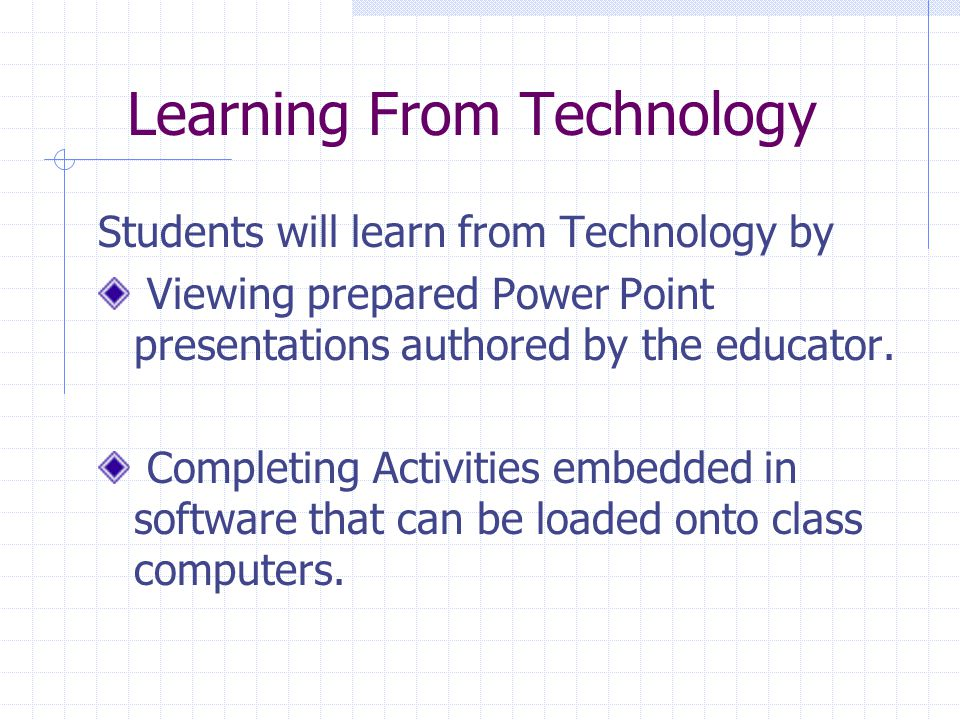 Learning From Technology Students will learn from Technology by Viewing prepared Power Point presentations authored by the educator.