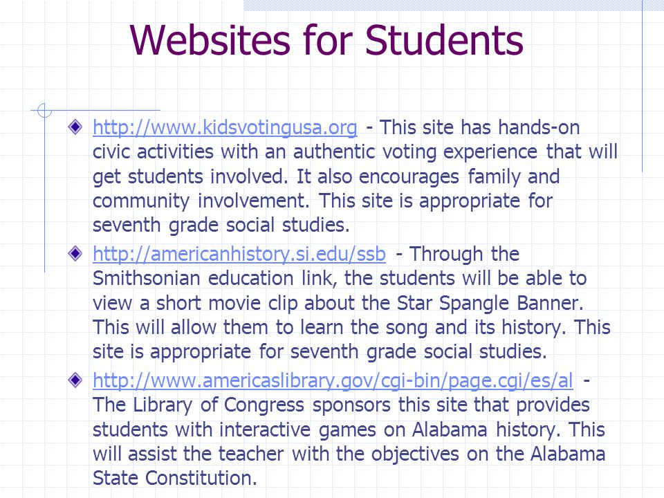 Websites for Students http://www.kidsvotingusa.orghttp://www.kidsvotingusa.org - This site has hands-on civic activities with an authentic voting experience that will get students involved.