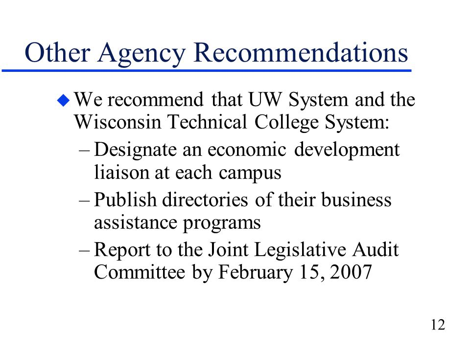 12 Other Agency Recommendations u We recommend that UW System and the Wisconsin Technical College System: –Designate an economic development liaison at each campus –Publish directories of their business assistance programs –Report to the Joint Legislative Audit Committee by February 15, 2007