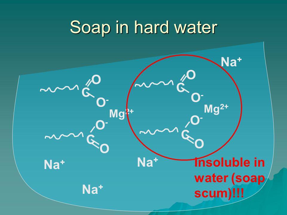 Soap in hard water Mg 2+ C O-O- O C O-O- O C O-O- O C O-O- O Na + Insoluble in water (soap scum)!!!