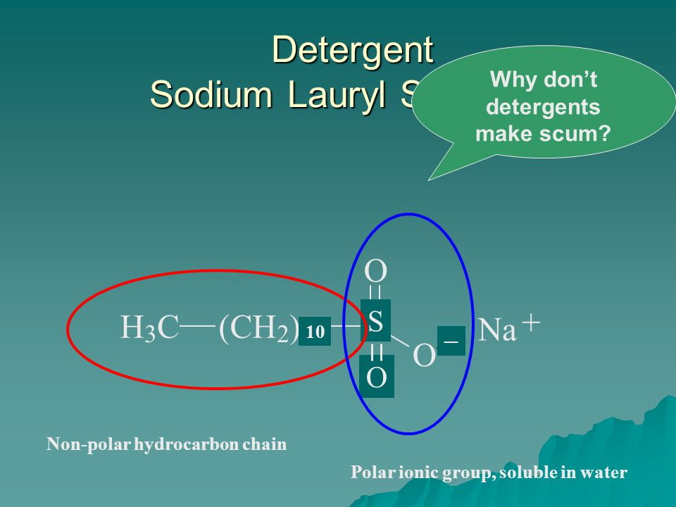 H 3 C(CH 2 ) 16 C O O Na + Non-polar hydrocarbon chain Polar ionic group, soluble in water Detergent Sodium Lauryl Sulfonate 10 S O ─ Why don't deterg