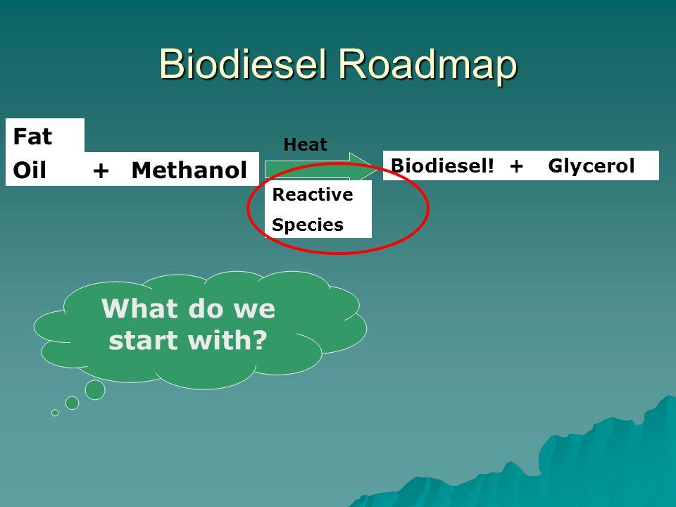 Biodiesel Roadmap OilMethanol+ Biodiesel!Glycerol+ Reactive Species Fat What do we start with? Heat