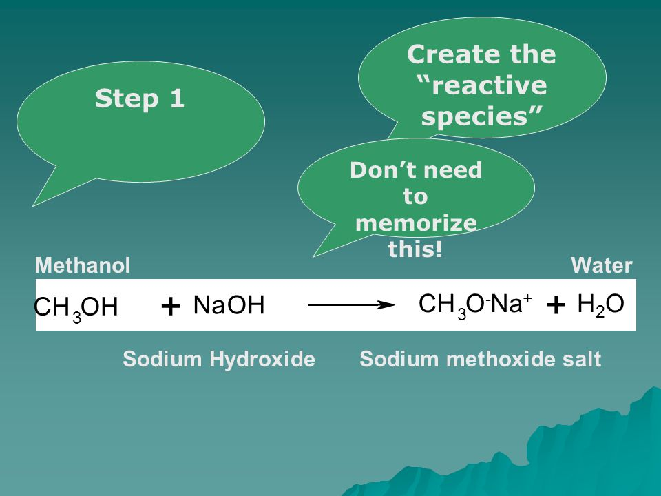 - + Sodium methoxide salt H2OH2O CH 3 OH NaOH CH 3 O-O- Na + H2OH2O + + Sodium Hydroxide MethanolWater Step 1 Create the reactive species Don't need to memorize this!