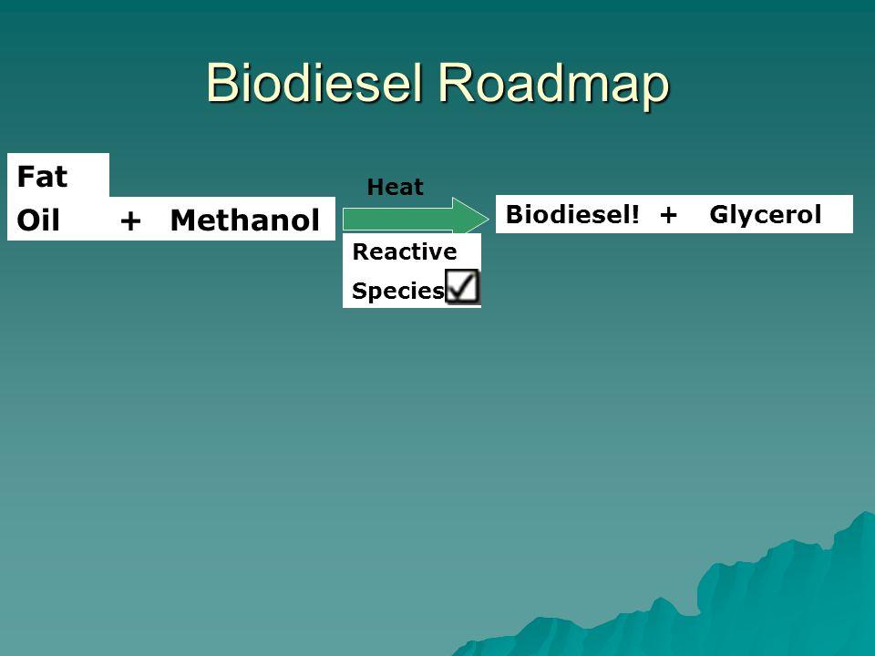 Biodiesel Roadmap OilMethanol+ Biodiesel!Glycerol+ Reactive Species Fat Heat