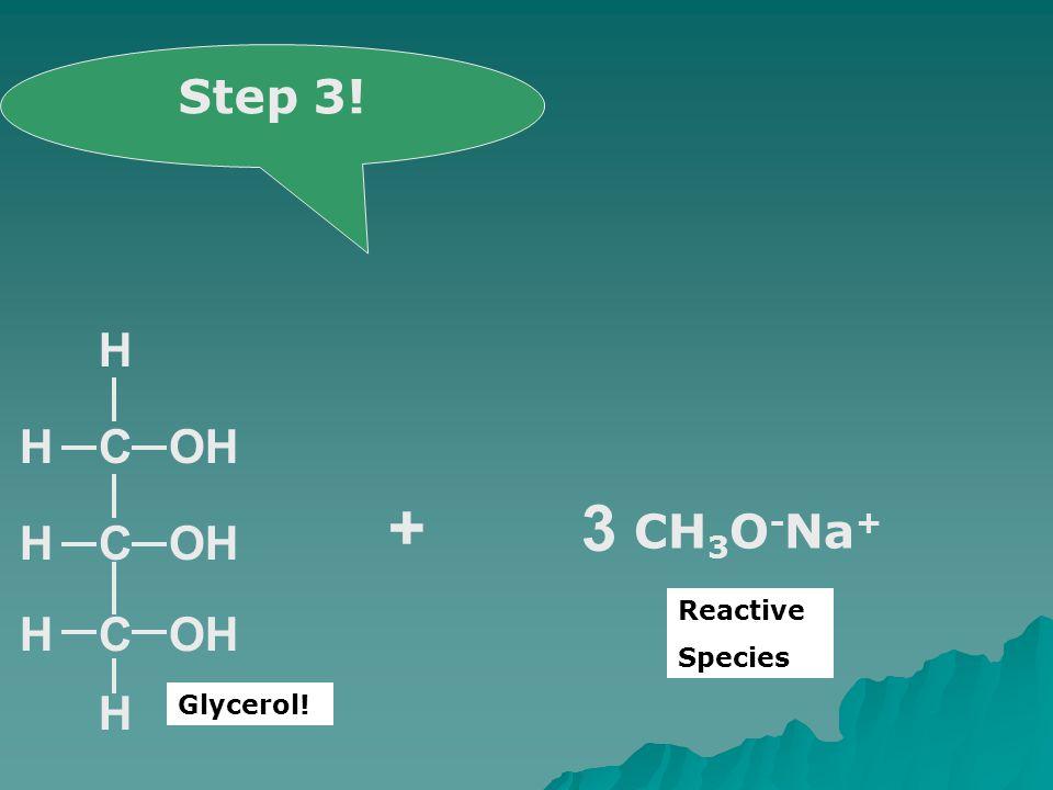 CH C OHCH H H H + CH 3 O - Na + Step 3! Reactive Species OH 3 Glycerol!