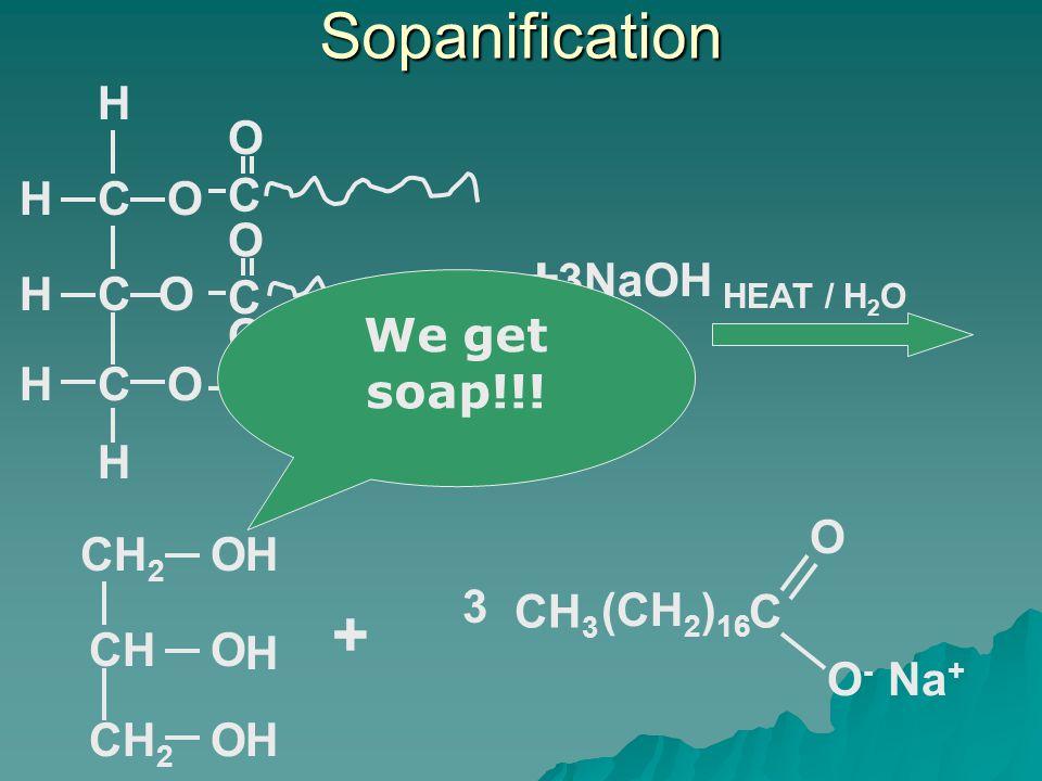 Sopanification HEAT / H 2 O COH CO OCH H H H C O C O C O 3NaOH + CHO CH 2 O O H H H + C O-O- O CH 3 (CH 2 ) 16 3 Na + We get soap!!!